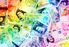 Fondo di valuta della libbra - arcobaleno Immagini Stock