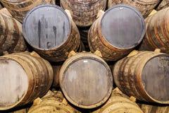 Fondo di vecchi barilotti della quercia Immagine Stock Libera da Diritti