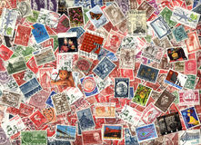 Fondo di vecchi francobolli danesi Fotografia Stock