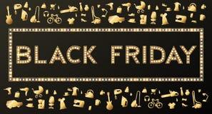 Fondo di vendita di Black Friday su bianco, oggetto di sconto Immagine Stock