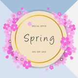 Fondo di vendita della primavera con il bello fiore della margherita, modello dell'illustrazione di vettore, insegne, carta da pa Immagini Stock
