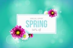 Fondo di vendita della primavera con il bello fiore variopinto illustrazione vettoriale