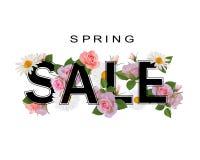 Fondo di vendita della primavera, insegna con i fiori, rose e camomille Fotografie Stock Libere da Diritti