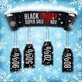 Fondo di vendita di Black Friday con l'insegna nera del nastro Fotografie Stock