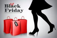 Fondo di vendita di Black Friday con la donna elegante di acquisto Fotografia Stock Libera da Diritti