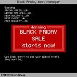 Fondo di vendita di Black Friday nel vecchio stile del computer Illustrazione di vettore Fotografia Stock