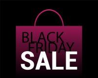 Fondo di vendita di Black Friday Sacchetto della spesa rosa con testo sul nero Immagini Stock Libere da Diritti