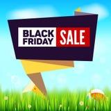 Fondo di vendita di estate di Black Friday, stile di carta tagliato di arte per il banner pubblicitario L'erba, margherita fioris Fotografie Stock