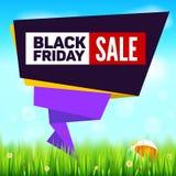 Fondo di vendita di estate di Black Friday, stile di carta tagliato di arte per il banner pubblicitario L'erba, margherita fioris Immagini Stock Libere da Diritti