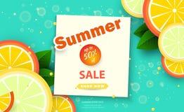 Fondo di vendita di estate per le insegne Fette arancio su un fondo luminoso Sconti di stagione Modello per l'aletta di filatoio, illustrazione vettoriale
