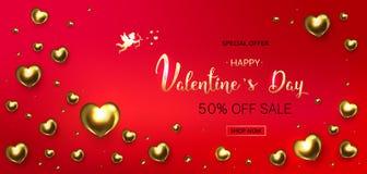 Fondo di vendita di giorno del ` s del biglietto di S. Valentino Composizione romantica con cuore immagini stock