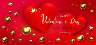 Fondo di vendita di giorno del ` s del biglietto di S. Valentino Composizione romantica con cuore fotografie stock libere da diritti