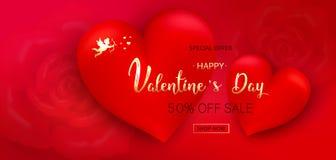 Fondo di vendita di giorno del ` s del biglietto di S. Valentino Composizione romantica con i cuori fotografia stock libera da diritti