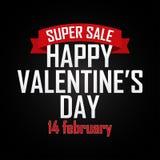 Fondo di vendita di giorno del ` s del biglietto di S. Valentino con il nastro Illustrazione di vettore Immagine Stock