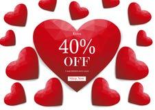 Fondo di vendita di giorno del ` s del biglietto di S. Valentino con poli cuore basso rosso, vettore Fotografia Stock