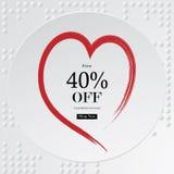 Fondo di vendita di giorno del ` s del biglietto di S. Valentino con poli cuore basso rosso, vettore Fotografia Stock Libera da Diritti