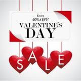 Fondo di vendita di giorno del ` s del biglietto di S. Valentino con poli cuore basso rosso, vettore Immagine Stock Libera da Diritti