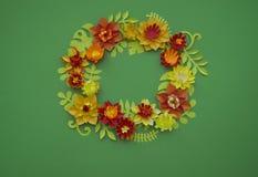 Fondo di verde del confine di concetto della decorazione del fiore del mestiere di carta Immagini Stock Libere da Diritti