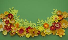 Fondo di verde del confine di concetto della decorazione del fiore del mestiere di carta Fotografia Stock Libera da Diritti