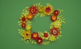 Fondo di verde del confine di concetto della decorazione del fiore del mestiere di carta Fotografie Stock Libere da Diritti