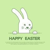 Fondo di verde della cartolina d'auguri di Bunny Happy Easter Holiday Banner del coniglio Immagini Stock