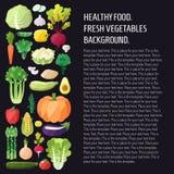 Fondo di verdure di vettore Progettazione piana moderna Priorità bassa sana dell'alimento Fotografia Stock