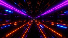 Fondo di vetro del tunnel di scifi di Futuristoc con la particella blu che pilota 3d per rendere royalty illustrazione gratis