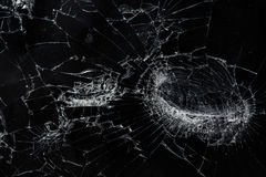 Fondo di vetro rotto incrinato di struttura dello schermo mobile di vista superiore Fotografia Stock Libera da Diritti