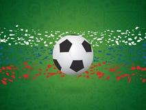 Fondo di vettore calcio/di calcio nel concetto russo della bandiera Immagine Stock