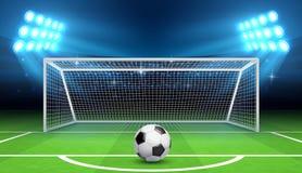 Fondo di vettore di campionato di calcio di calcio con la palla e gli scopi di sport Concetto di calcio di rigore Immagini Stock Libere da Diritti
