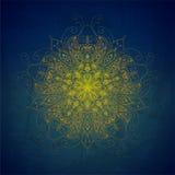 Fondo di vettore con gli ornamenti Mandala di vettore Backgroun blu Fotografie Stock Libere da Diritti