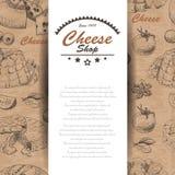 Fondo di vettore con i prodotti del formaggio Immagini Stock Libere da Diritti