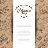 Fondo di vettore con i prodotti del formaggio Immagini Stock