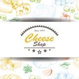 Fondo di vettore con i prodotti del formaggio Fotografia Stock