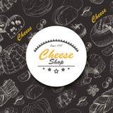 Fondo di vettore con i prodotti del formaggio Fotografia Stock Libera da Diritti