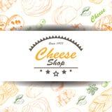 Fondo di vettore con i prodotti del formaggio Fotografie Stock