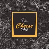 Fondo di vettore con i prodotti del formaggio Fotografie Stock Libere da Diritti