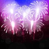 Fondo di vettore con il saluto Fuochi d'artificio luminosi di colore Fotografia Stock