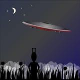 Fondo di vettore con il UFO Illustrazione di Stock