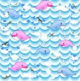 Fondo di vettore con le balene Fotografia Stock Libera da Diritti