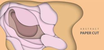 Fondo di vettore con le forme beige nude del taglio della carta di colore pastello illustrazione di stock