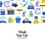 Fondo di vettore con le icone piane dell'autolavaggio illustrazione di stock