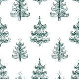 Fondo di vettore degli alberi di Natale tirati Fotografia Stock