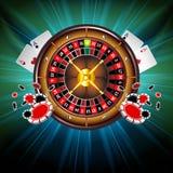 Fondo di vettore del casinò con la ruota di roulette Fotografia Stock