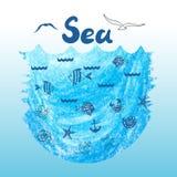 Fondo di vettore del mare con le icone di scarabocchio illustrazione di stock