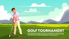 Fondo di vettore del torneo di golf Manifesto di sport illustrazione vettoriale
