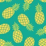 Fondo di vettore dell'ananas Stampa tropicale del tessuto di estate Fotografie Stock Libere da Diritti