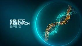 Fondo di vettore dell'elica del DNA Processo genetico del reseacrch Gene modificato Fondo di tecnologia del DNA di biologia di sc illustrazione vettoriale