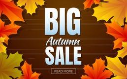 Fondo di vettore dell'insegna del modello di vendita di autunno Fotografie Stock Libere da Diritti