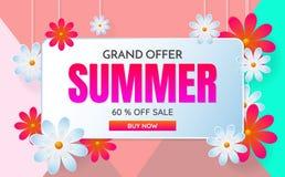 Fondo di vettore dell'insegna del modello di vendita di estate Fotografie Stock